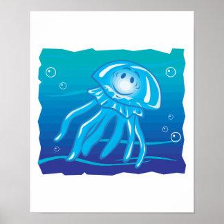 happy smiling jellyfish print