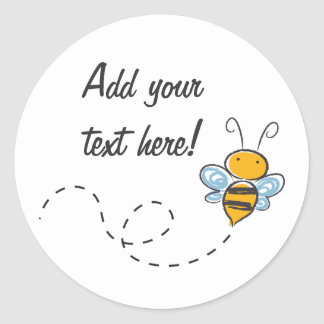 Happy Smiling Jolly Bee Classic Round Sticker