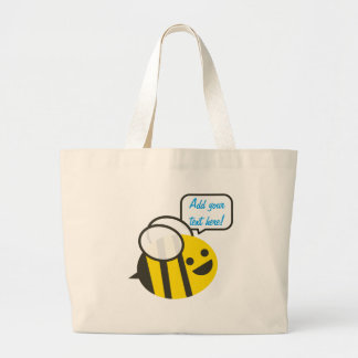 Happy Smiling Jolly Bee Large Tote Bag