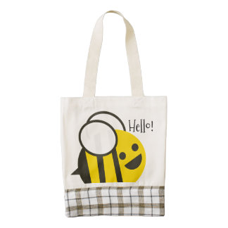 Happy Smiling Jolly Bee Zazzle HEART Tote Bag