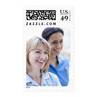 Happy smiling nurses. stamps
