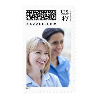 Happy smiling nurses. postage stamp