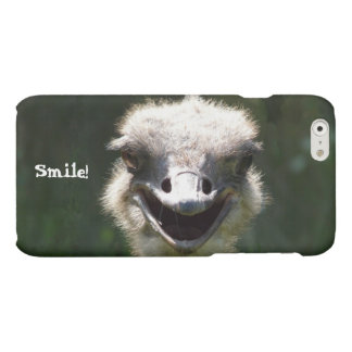 Happy Smiling Ostrich-Customize Text Matte iPhone 6 Case