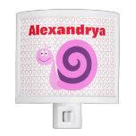 [ Thumbnail: Happy, Smiling Pink & Purple Snail + Custom Name Night Light ]
