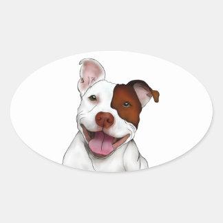 Happy Smiling Pitbull Oval Sticker