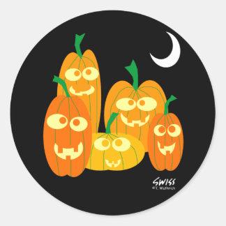 Happy Smiling Pumpkins Halloween Stickers