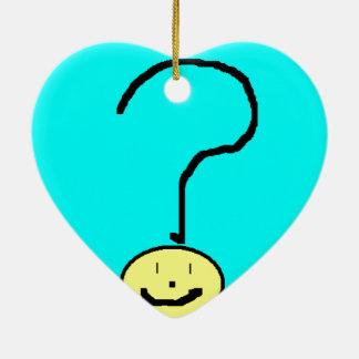 Happy Smiling Question Mark Emoji, Kids Art Ceramic Ornament