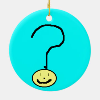Happy Smiling Question Mark Emoji, Kids Art Double-Sided Ceramic Round Christmas Ornament