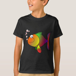 Happy Smiling Rainbow Fish and Bubbles T-Shirt