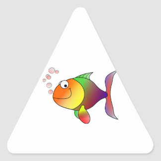 Happy Smiling Rainbow Fish and Bubbles Triangle Sticker