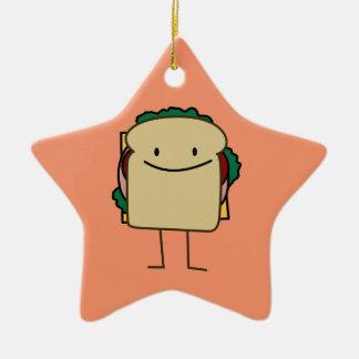 Happy Smiling Sandwich - Classic Ceramic Ornament