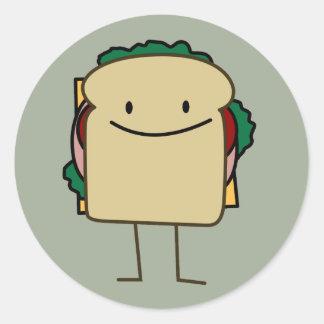 Happy Smiling Sandwich - Classic Classic Round Sticker