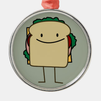 Happy Smiling Sandwich - Classic Metal Ornament