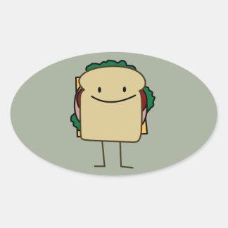 Happy Smiling Sandwich - Classic Oval Sticker