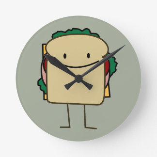 Happy Smiling Sandwich - Classic Round Clock