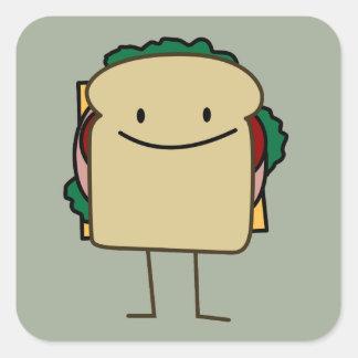 Happy Smiling Sandwich - Classic Square Sticker