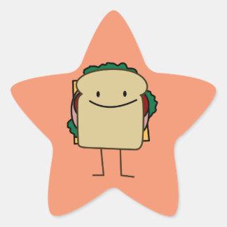 Happy Smiling Sandwich - Classic Star Sticker