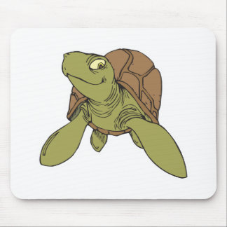 happy smiling sea turtle mouse pad