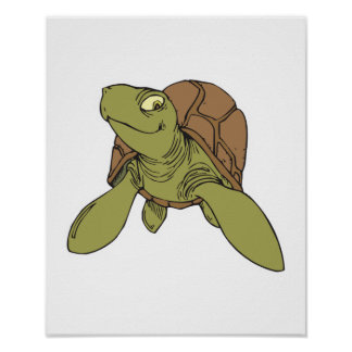 happy smiling sea turtle poster