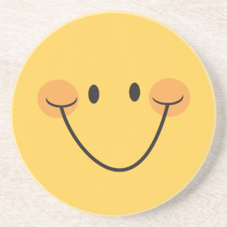 Happy smiling smiley sandstone coaster - yellow
