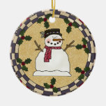 Happy Smiling Snowman Christmas Ornament