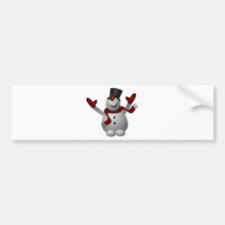 Happy Smiling Snowman with His Arms Up Bumper Sticker