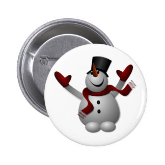 Happy Smiling Snowman with His Arms Up Pins