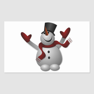 Happy Smiling Snowman with His Arms Up Rectangular Sticker