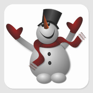Happy Smiling Snowman with His Arms Up Square Sticker