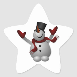 Happy Smiling Snowman with His Arms Up Star Sticker