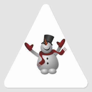 Happy Smiling Snowman with His Arms Up Triangle Sticker