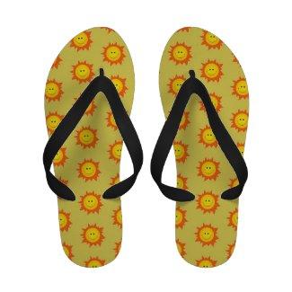Happy Smiling Sun Pattern Flip-Flops