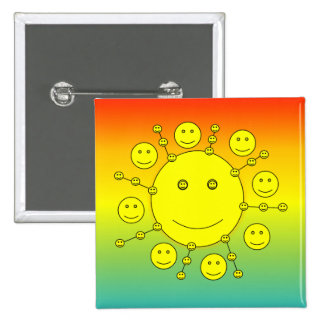Happy Smiling Sunny Faces, Smiley Emoji Pinback Button