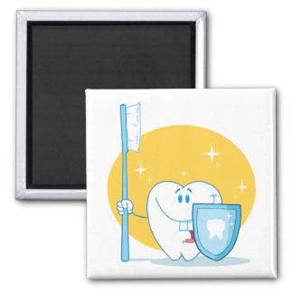 Happy Smiling Tooth With Toothbrush And Shield 2 Inch Square Magnet