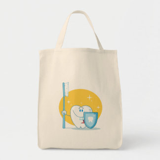 Happy Smiling Tooth With Toothbrush And Shield Tote Bag