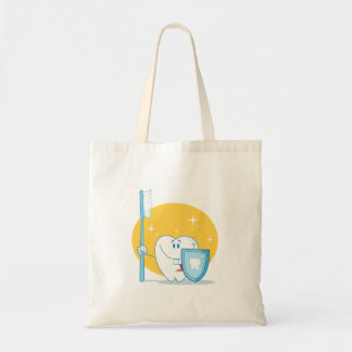 Happy Smiling Tooth With Toothbrush And Shield Tote Bags