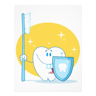 Happy Smiling Tooth With Toothbrush And Shield Flyer