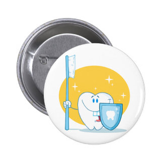 Happy Smiling Tooth With Toothbrush And Shield Pinback Button