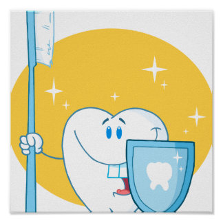 Happy Smiling Tooth With Toothbrush And Shield Poster