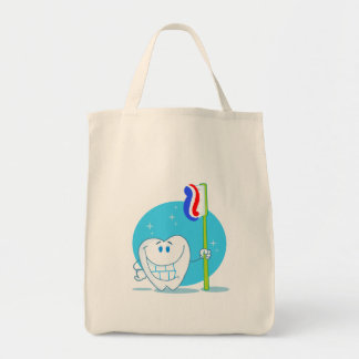 Happy Smiling Tooth With Toothbrush Tote Bags