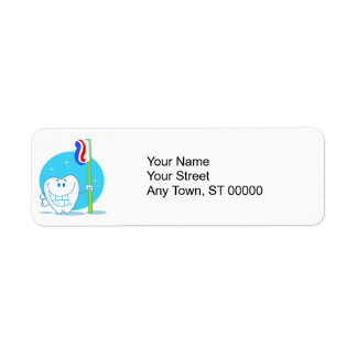 Happy Smiling Tooth With Toothbrush Return Address Labels