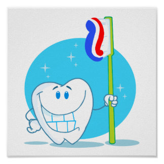Happy Smiling Tooth With Toothbrush Poster