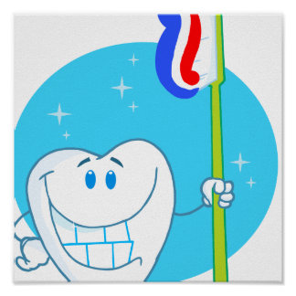 Happy Smiling Tooth With Toothbrush Print