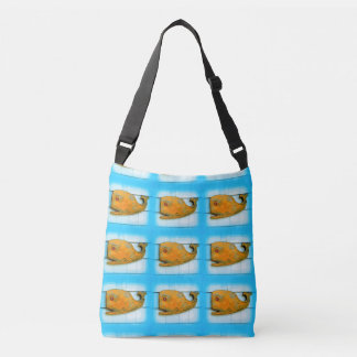 happy smiling whale blue tote bag