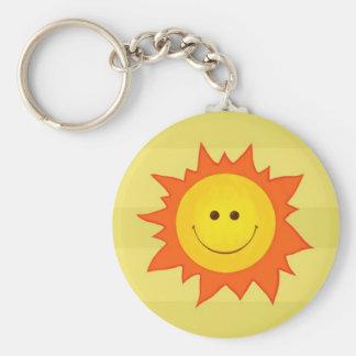 Happy Smilling Sun Basic Round Button Keychain