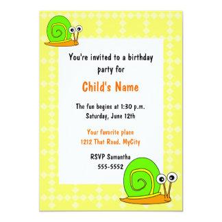 Happy Snail Children's Birthday Invitation