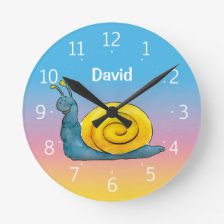 Happy Snail Round Clock