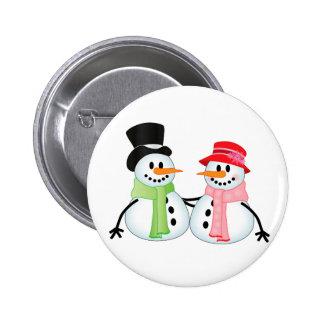 Happy Snow Couple Button