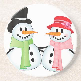 Happy Snow Couple Drink Coaster