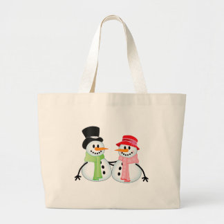 Happy Snow Couple Large Tote Bag